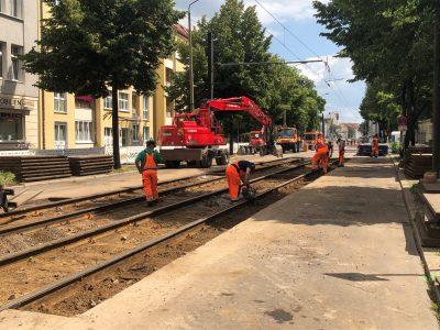 Gleisbauarbeiten auf der Großen Diesdorfer Straße
